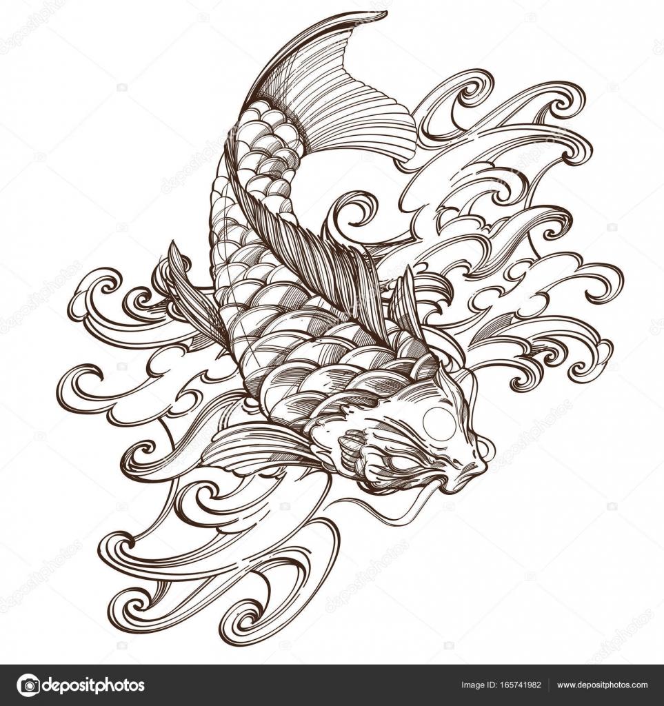 Imágenes Pez Koi Para Dibujar Imagen De Pez Koi Con Onda Vector