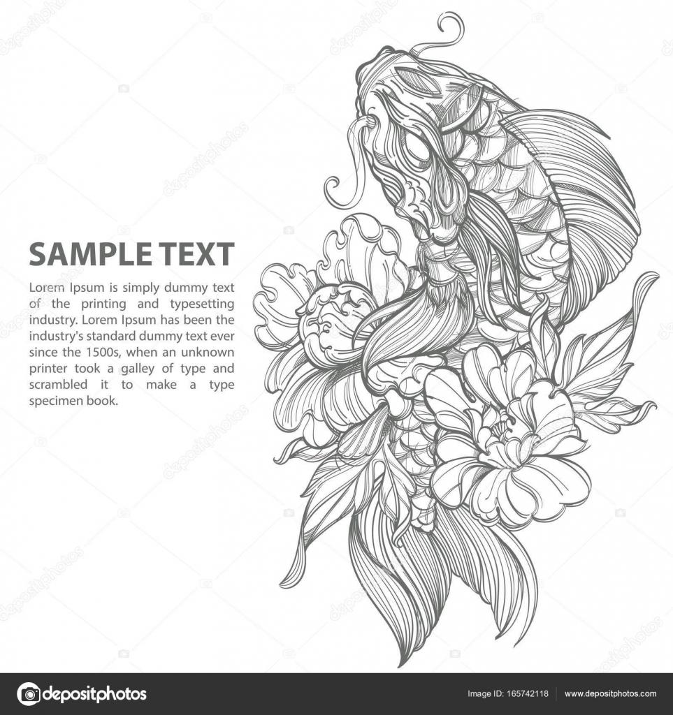 Dibujos Flores Japonesas Peces Koi Contorno Con Flor Vector De
