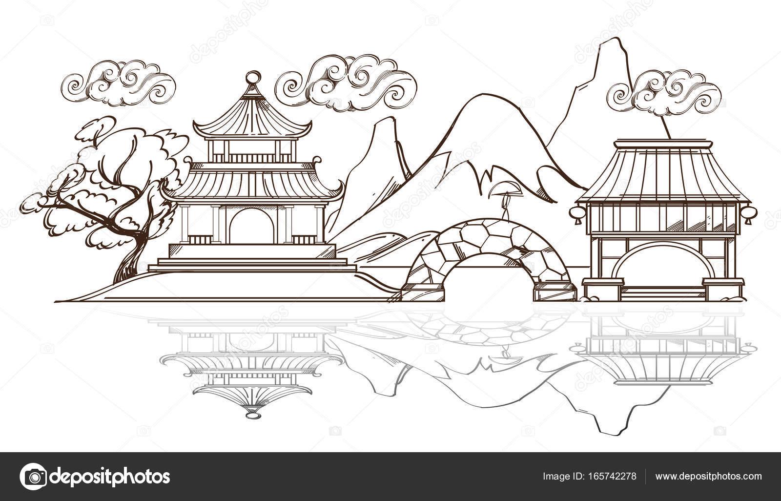 Paesaggio Con Tempio Pagoda E Montagne Vettoriali Stock