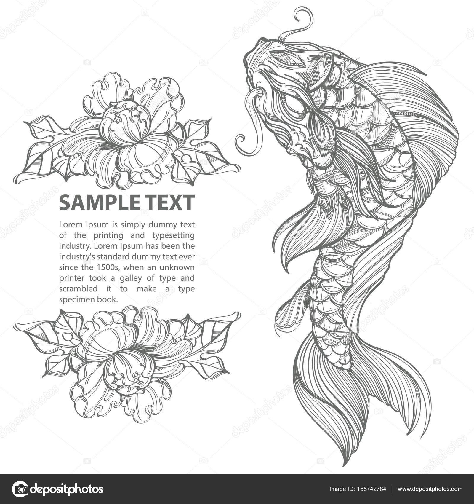 Depositphotos 165742784 Stock Illustration Contour Koi Fish With Flower