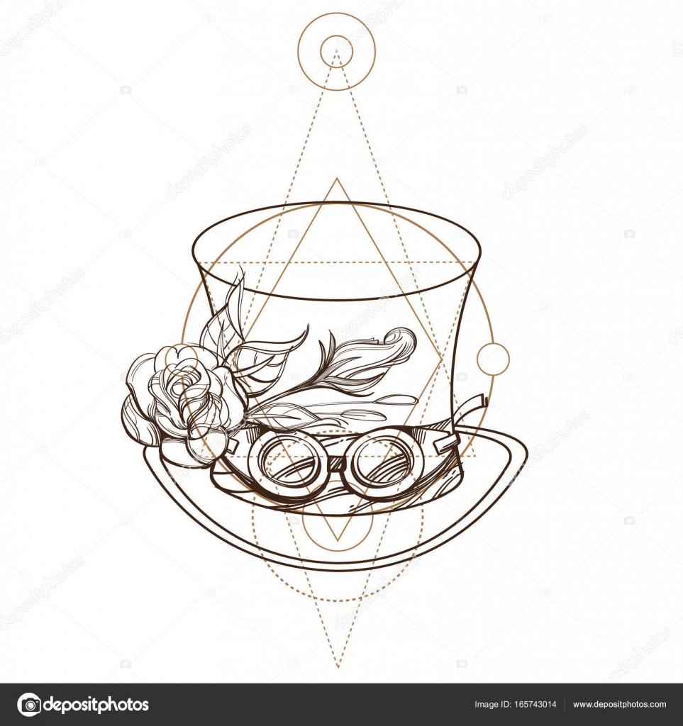 Chapeau Haut De Forme Avec Rose Et Des Lunettes Image Vectorielle