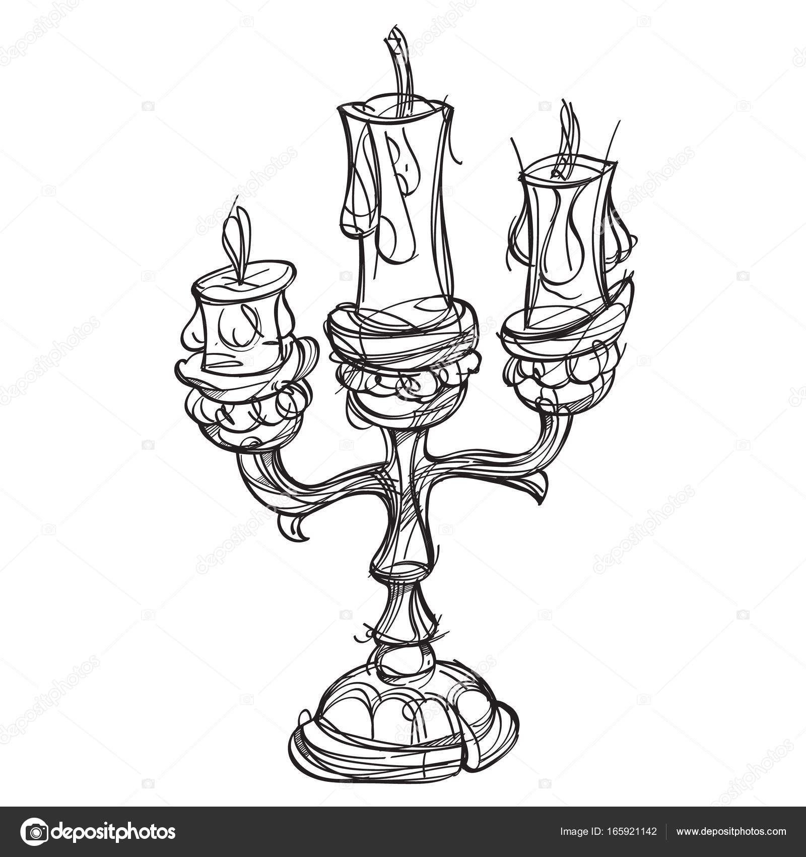 Candelabro de tres velas — Vector de stock © filkusto #165921142