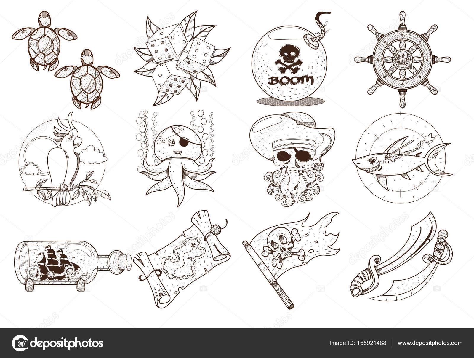 Kleurplaten Thema Dieren.Kleurplaten Rond Het Thema Piraten Stockvector C Filkusto 165921488
