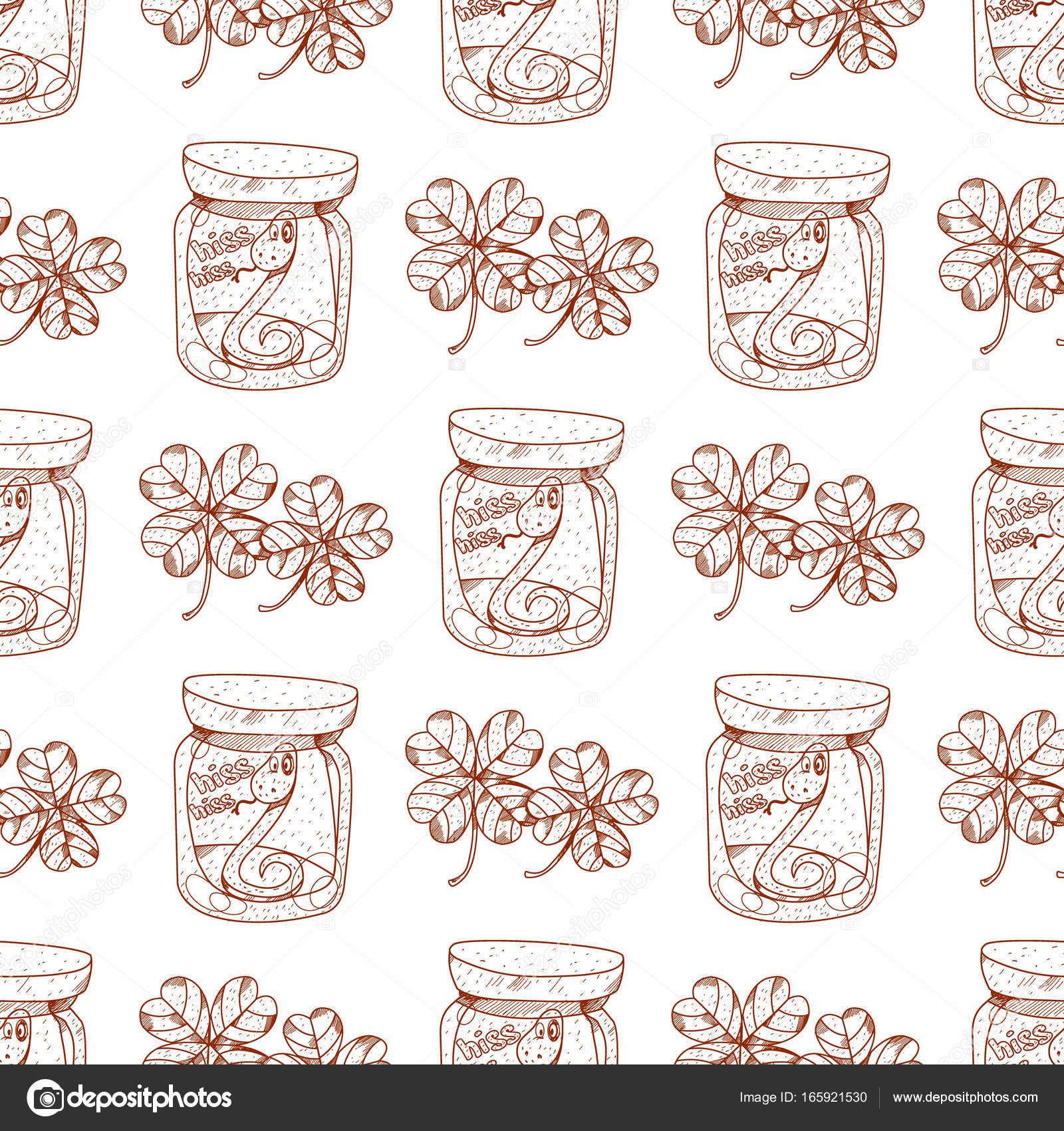 Tarros de patrones sin fisuras con serpientes en un vaso — Vector de ...
