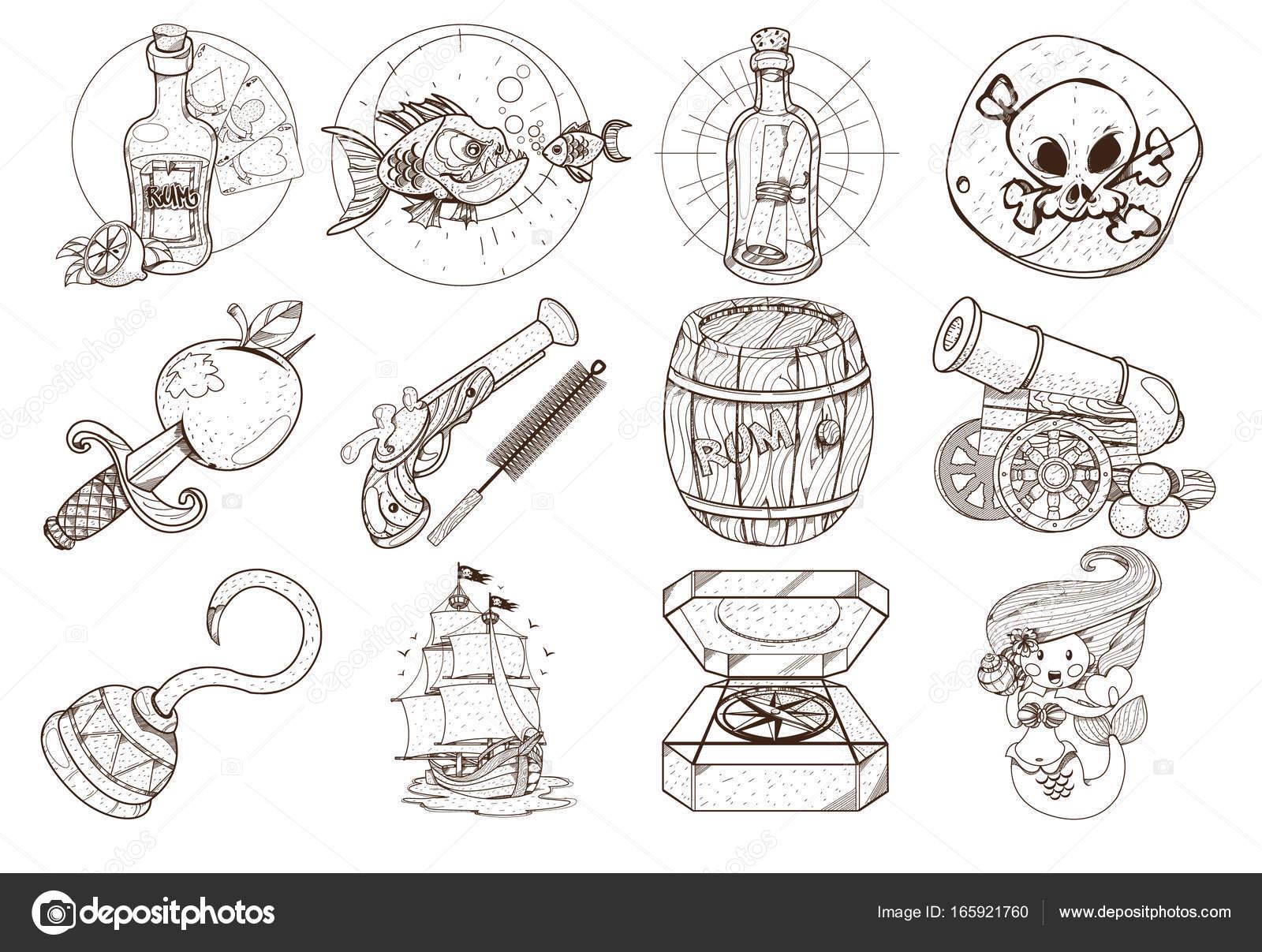 Vettore Dei Pirati Da Stampare Disegni Da Colorare Sul Tema Dei