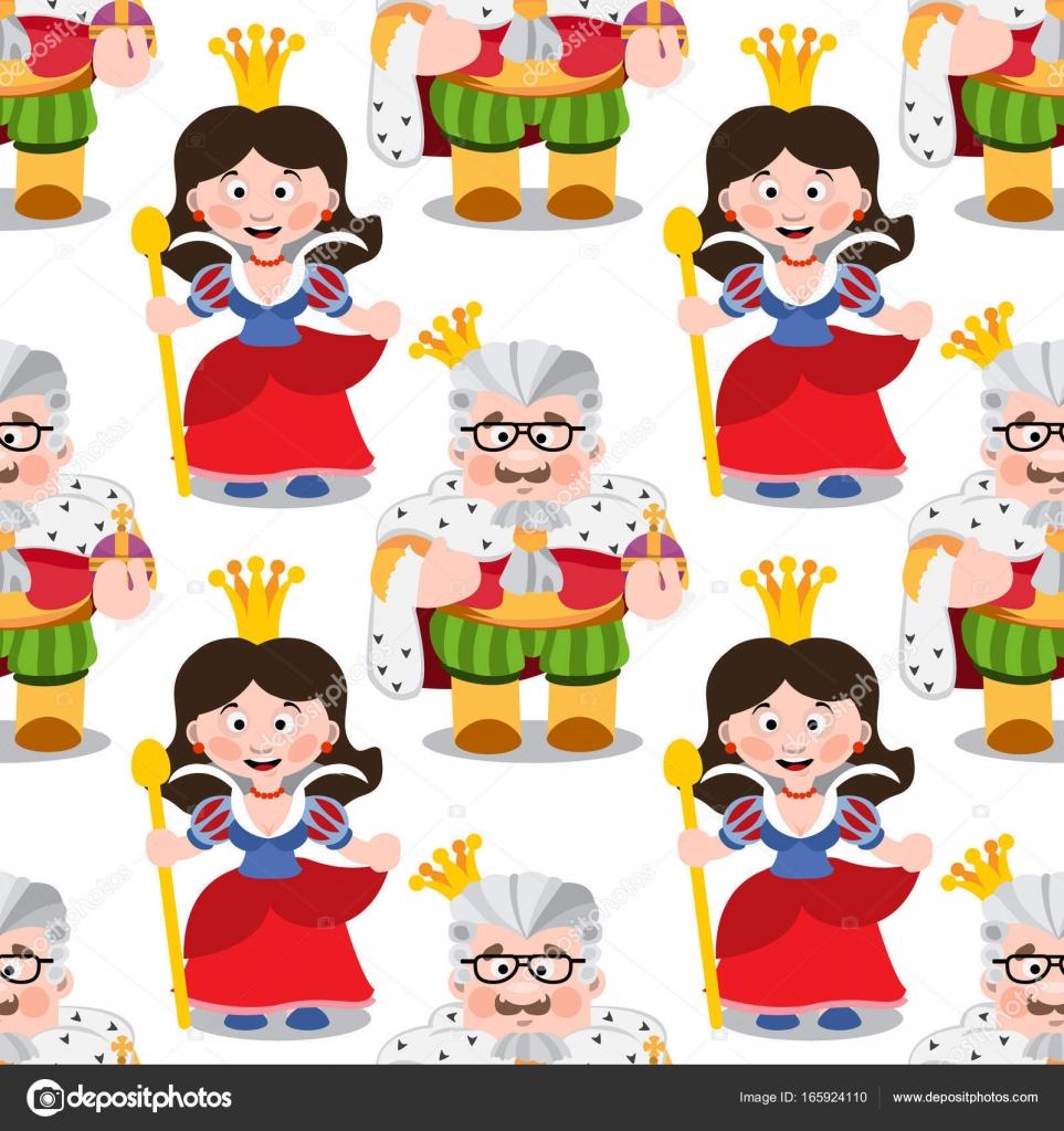 Vector Rey Y Reina Patrón De Dibujos Animados Rey Y Reina