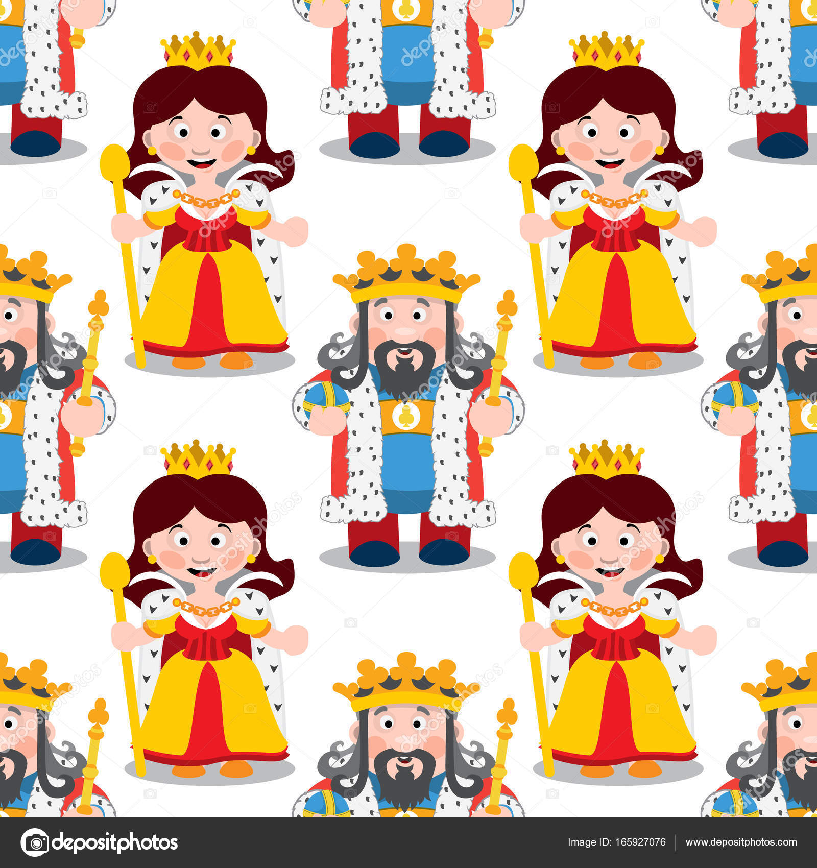 Patrón De Dibujos Animados Rey Y Reina Archivo Imágenes