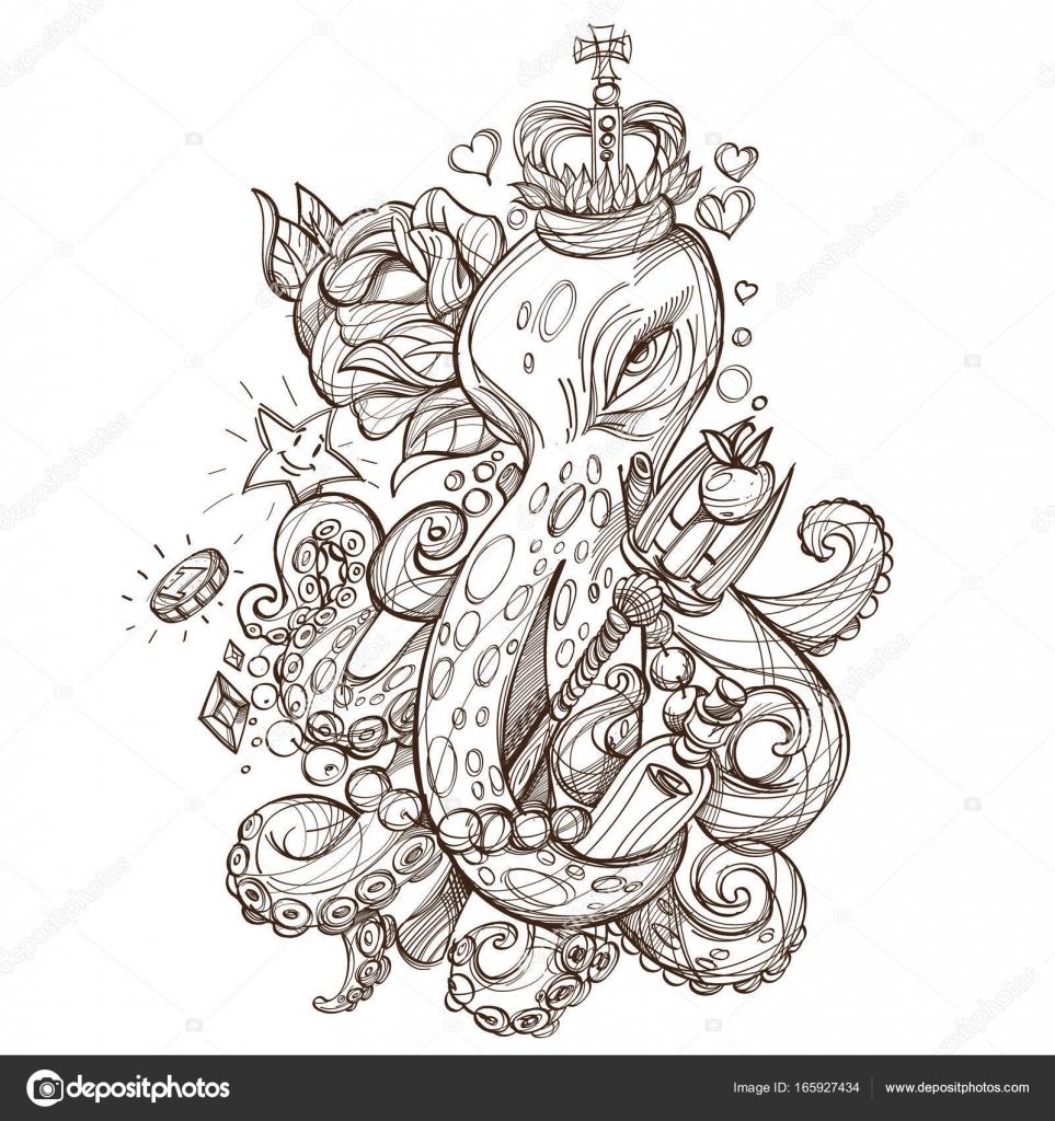 Pulpo En La Corona Con La Rosa Archivo Imágenes Vectoriales