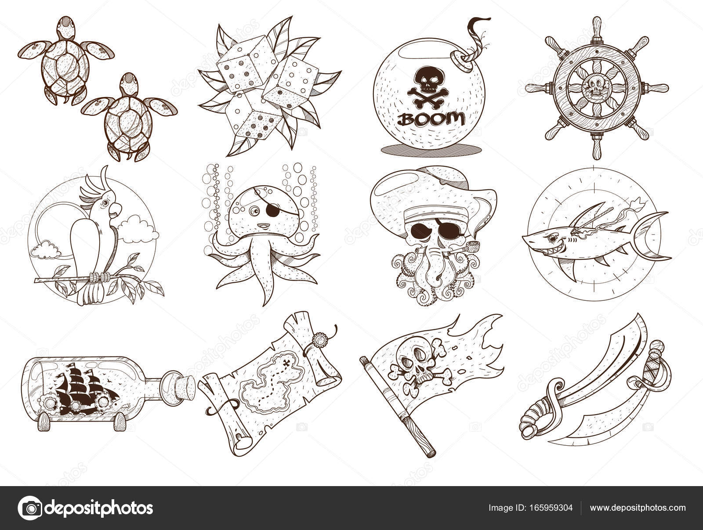 Malvorlagen zum Thema Piraten — Stockvektor © filkusto #165959304