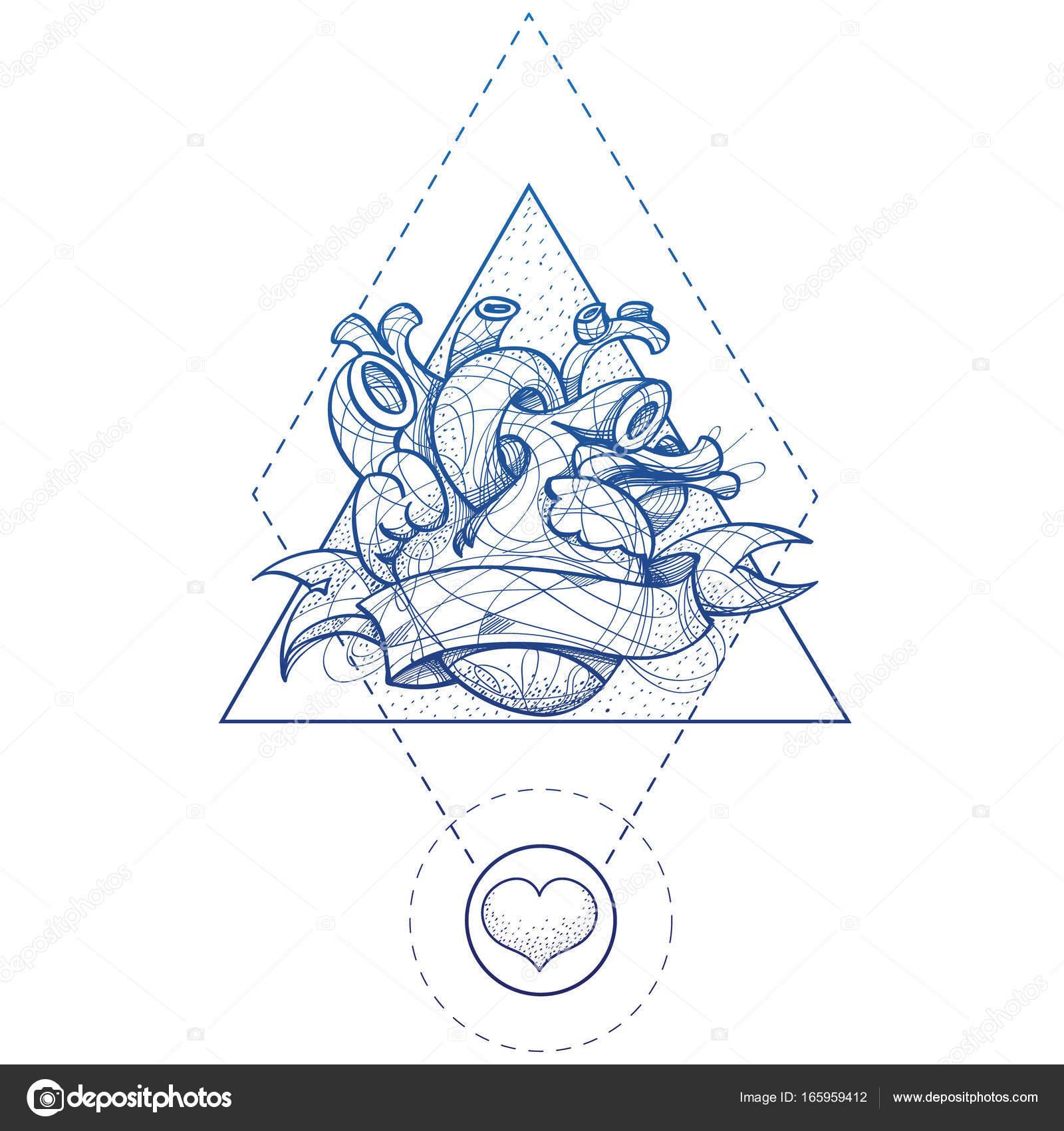 Croquis De Tatouage main de croquis de tatouage coeur style de dessin — image