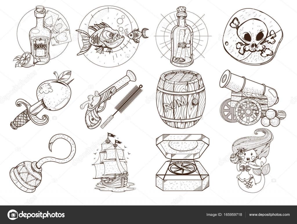 para colorear sobre el tema de los piratas — Archivo Imágenes ...