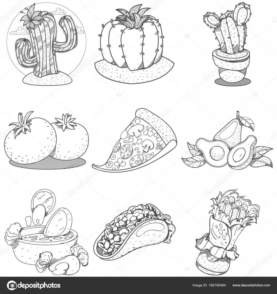 Comida mexicana y artículos para el hogar — Vector de stock ...