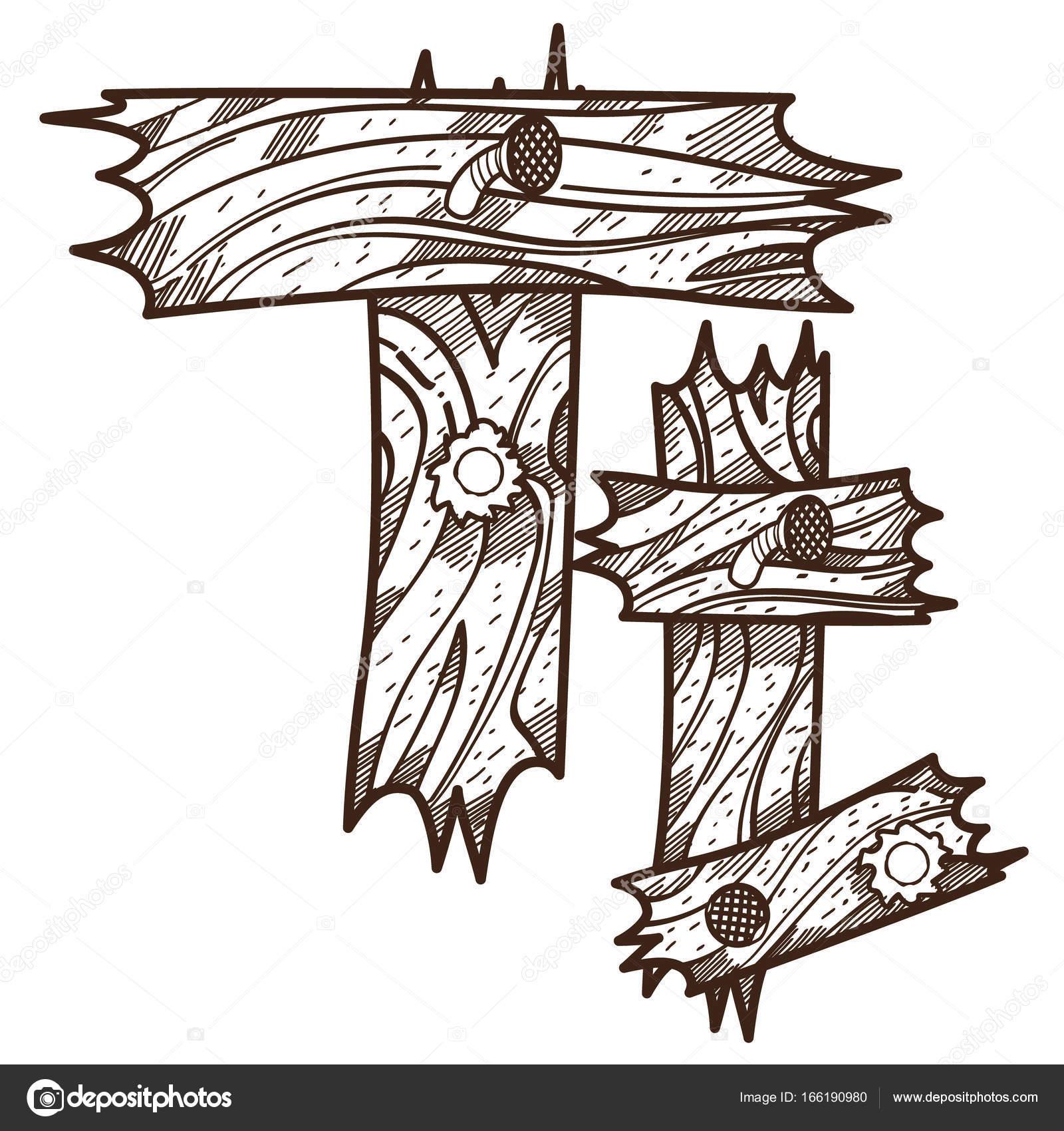 Ahşap Plakalar üzerinden T Harfi Stok Vektör Filkusto 166190980