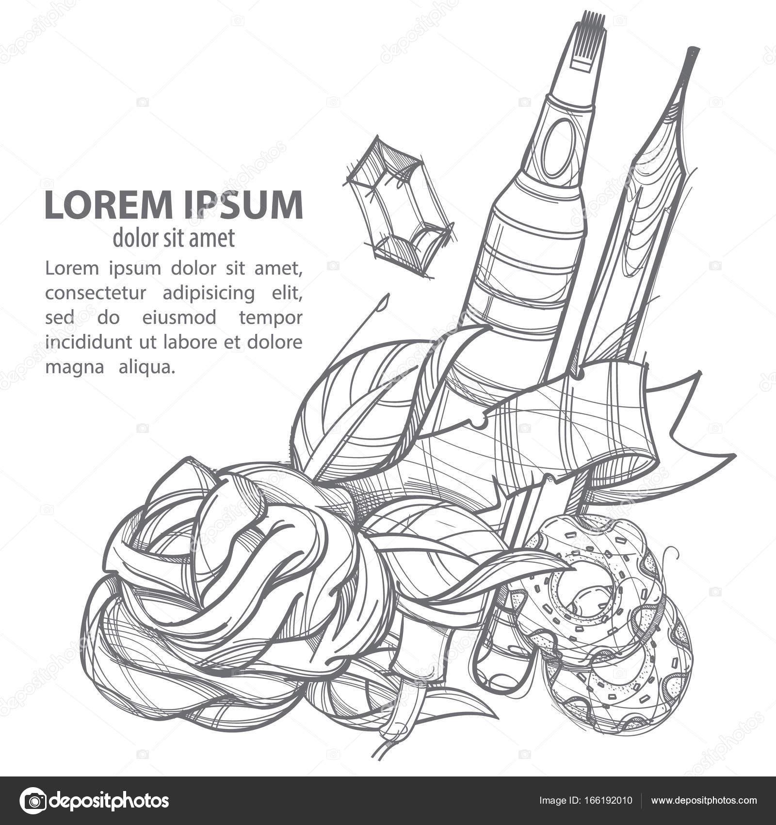 Bleistift Donuts Und Blumen Poster Stockvektor Filkusto 166192010