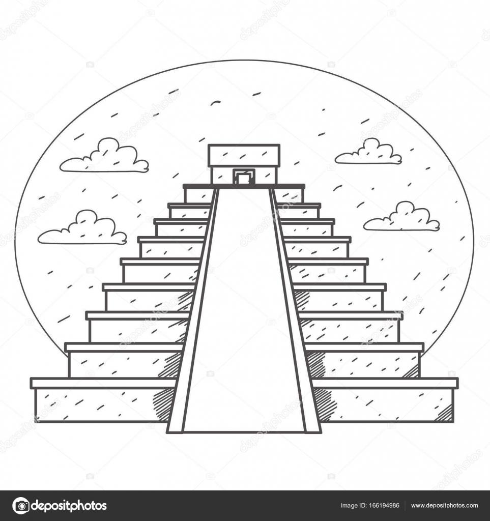 Pirámide monumentos mexicana logo — Vector de stock © filkusto ...