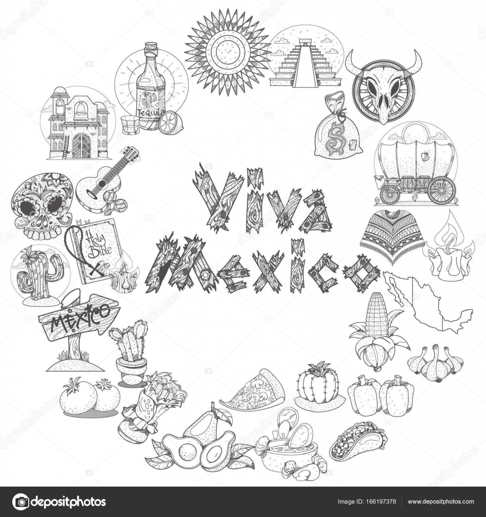 comida tradicional mexicana — Vector de stock © filkusto #166197378