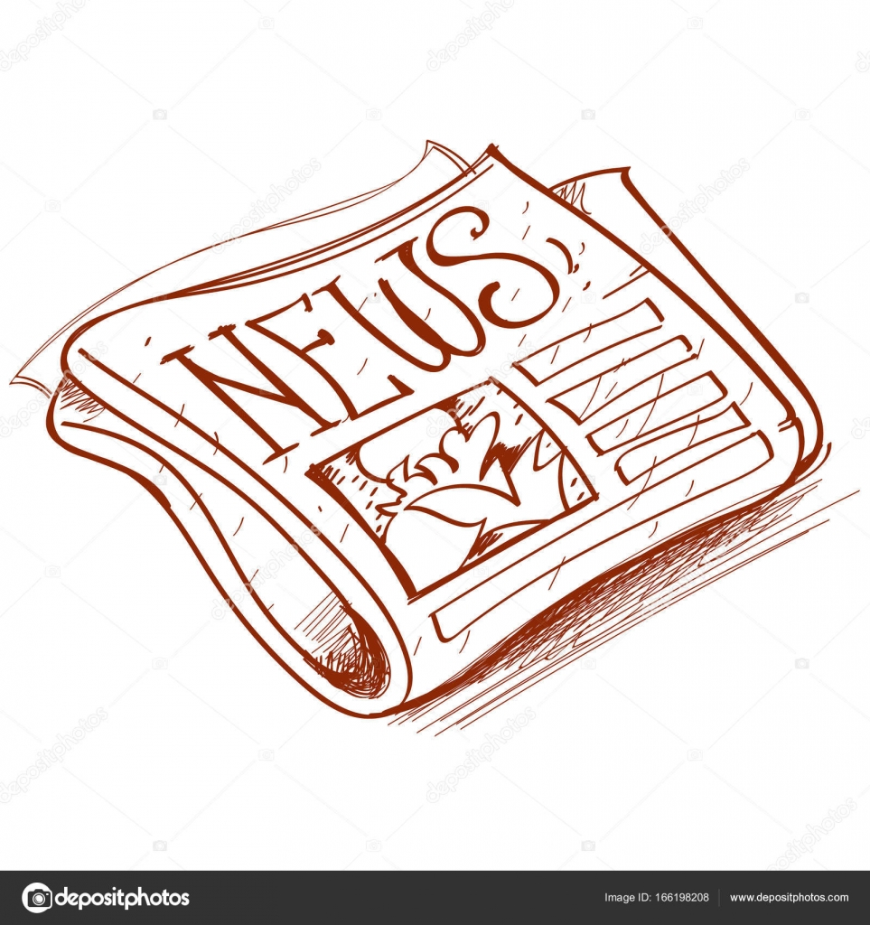 Newspaper Outline Drawing Vector By Filkusto