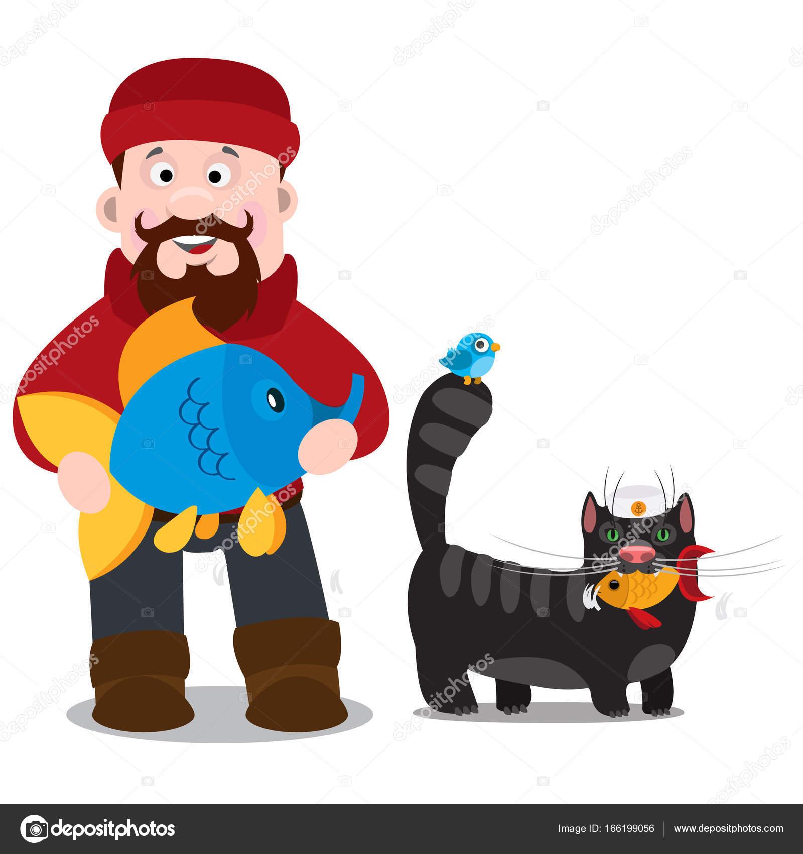 pescadores con pescado y gato negro — Vector de stock © filkusto ...