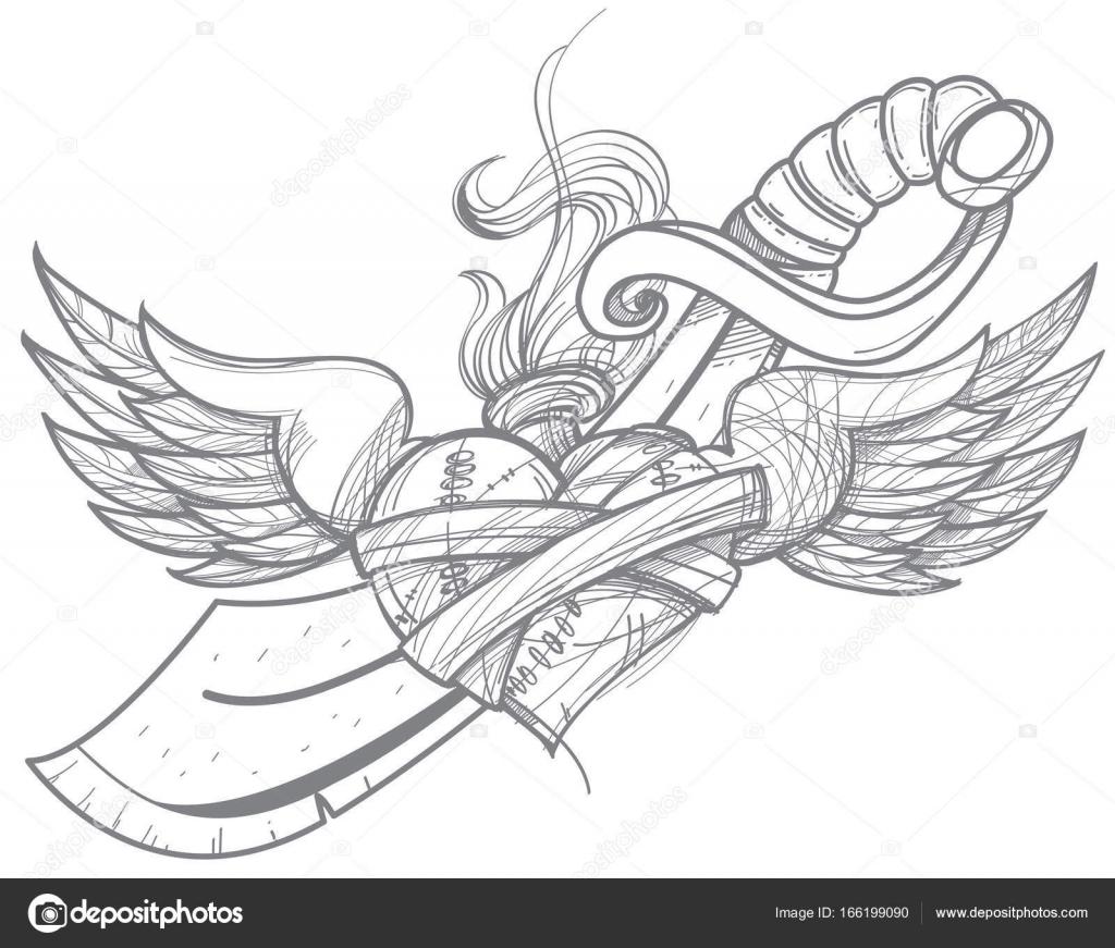 Dibujos Corazones Con Alas Corazón Con Alas Y Una Espada Vector