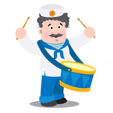 Sailor character playing drum