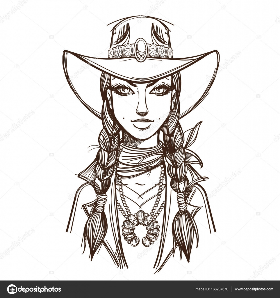 Imágenes Sombreros Vaqueros Para Colorear Chica En Un