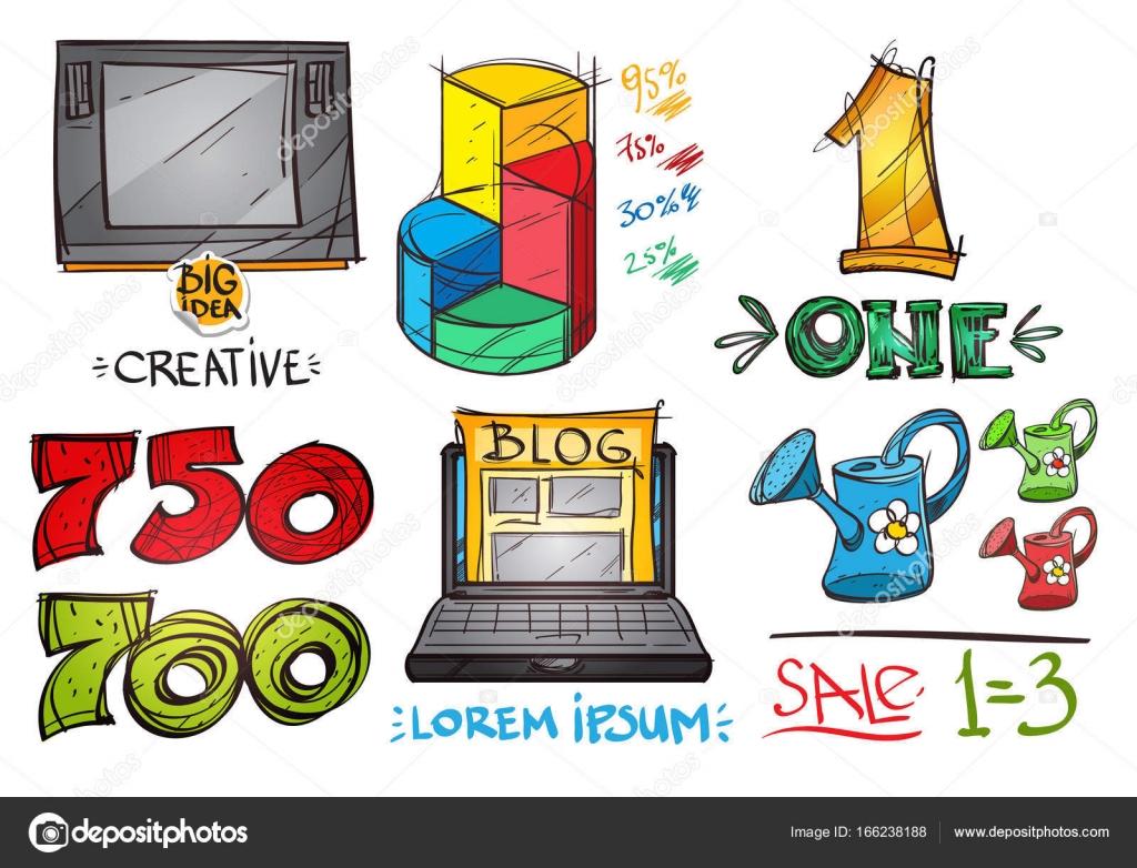 3fa97b62e3c80 Bosquejo de varios bienes y objetos. Elementos para infografías - diseño de  infografías con recursos gratuitos para no diseñadores — Vector de filkusto  ...