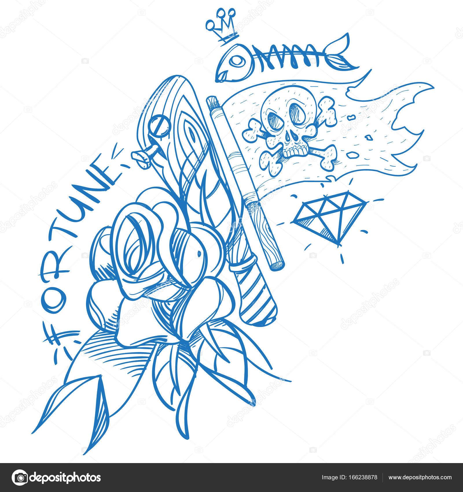 Szkic Tatuaż Z Sztylet I Róże Grafika Wektorowa