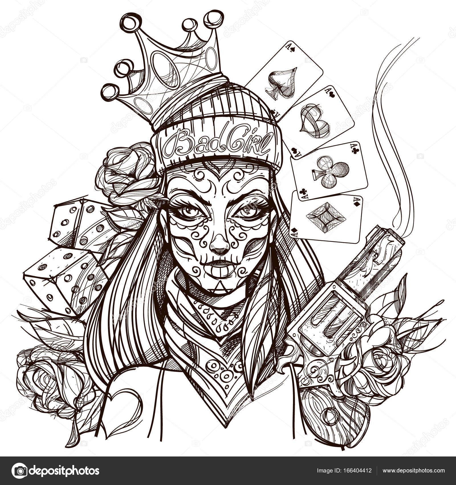 Femme Avec Du Maquillage Dhalloween Image Vectorielle Filkusto