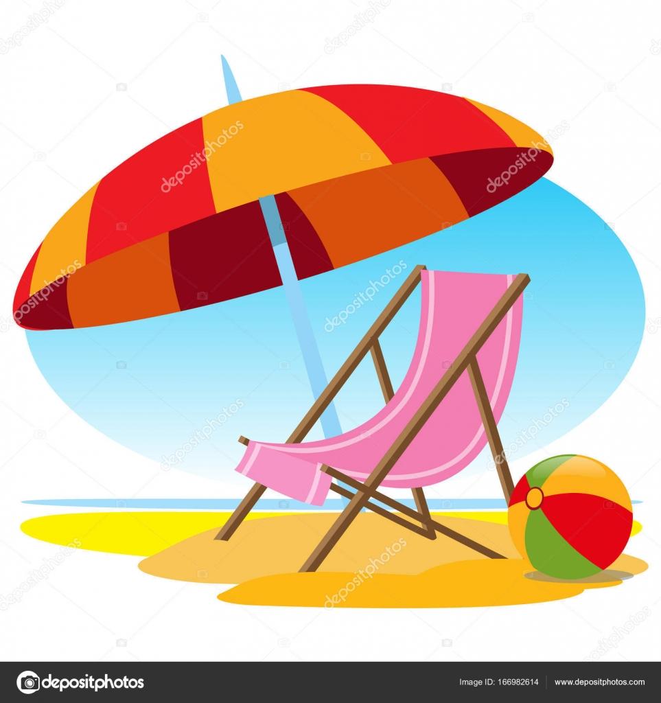 Liegestuhl mit sonnenschirm clipart  Liegestuhl und Sonnenschirm am Strand — Stockvektor © filkusto ...