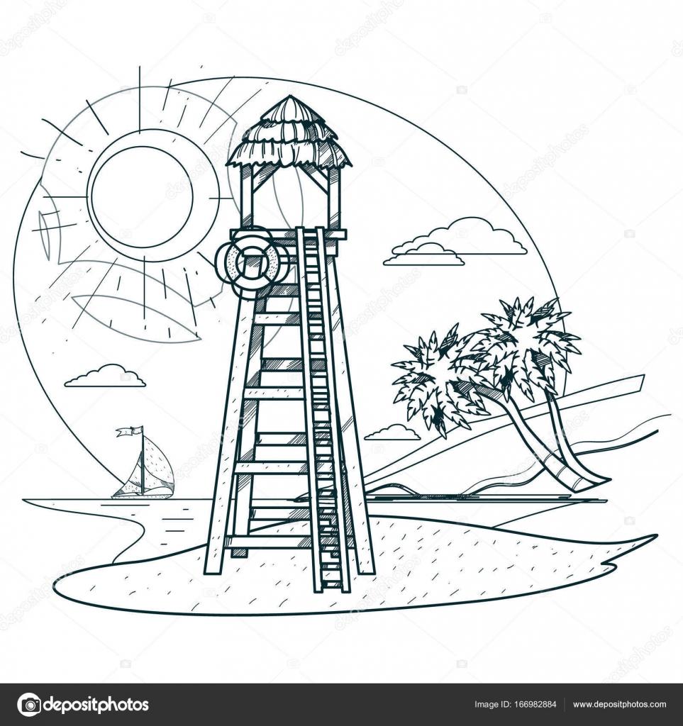 Torre de salvavidas en la playa — Archivo Imágenes Vectoriales ...