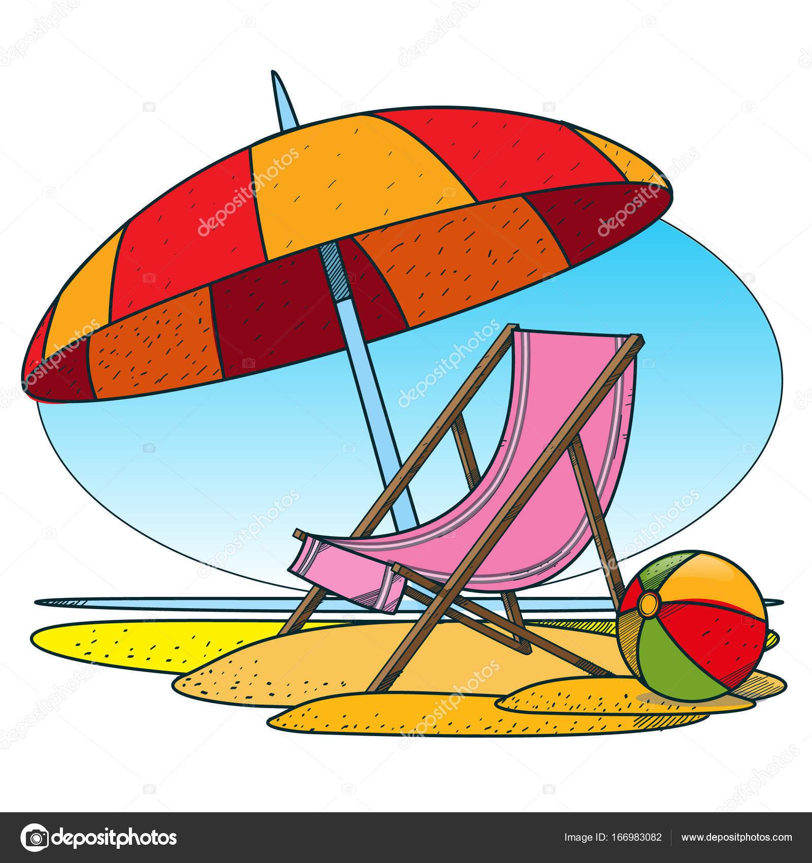 Disegno Ombrellone E Sdraio.Sedia A Sdraio E Ombrellone Sulla Spiaggia Vettoriali Stock