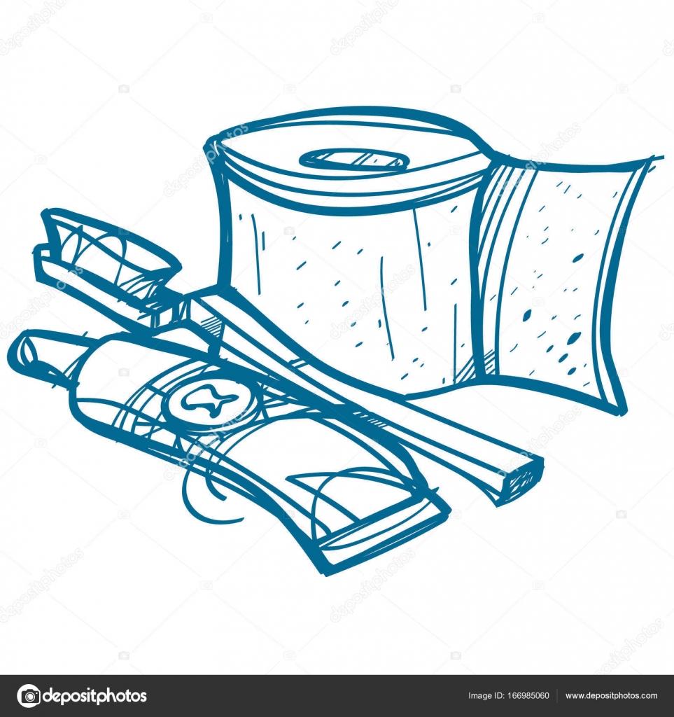 Tuvalet Kağıdı Diş Fırçası Ve Diş Macunu Stok Vektör Filkusto