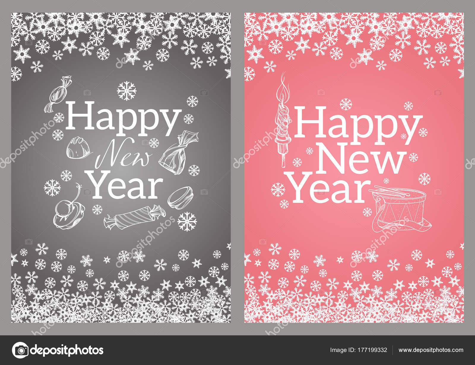 happy new year template greeting cards inviations posters more stock vector