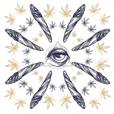 Pattern from weed joint or spliff with All-seeing eye. Marijuana vector silhouette. Illustration isolated on white background