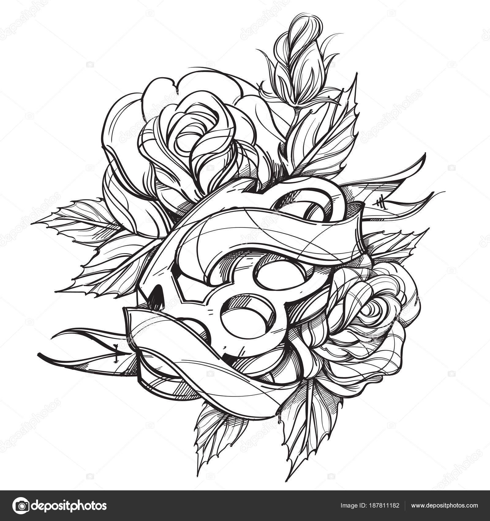 Dibujos Rosas Para Tatuajes Nudillos Latón Cinta Bandera Contorno