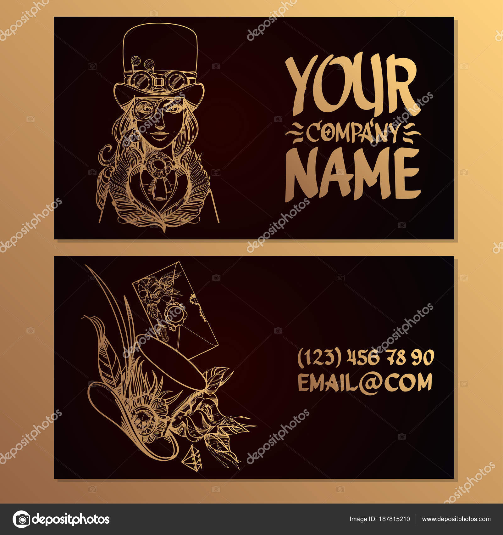 card image woman hat style simpank templates creating business cards