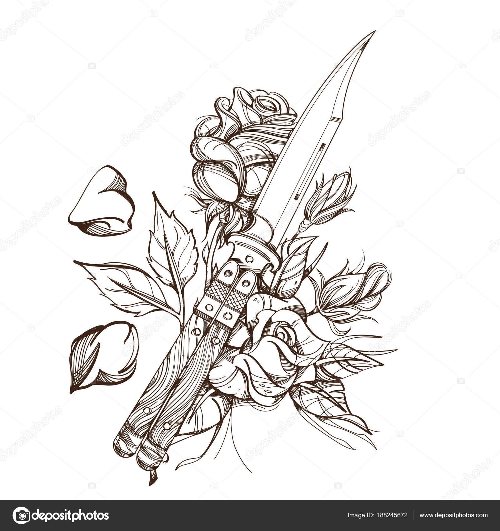 Pugnale contorno rosa disegno colorare tatuaggio for Colorare le rose