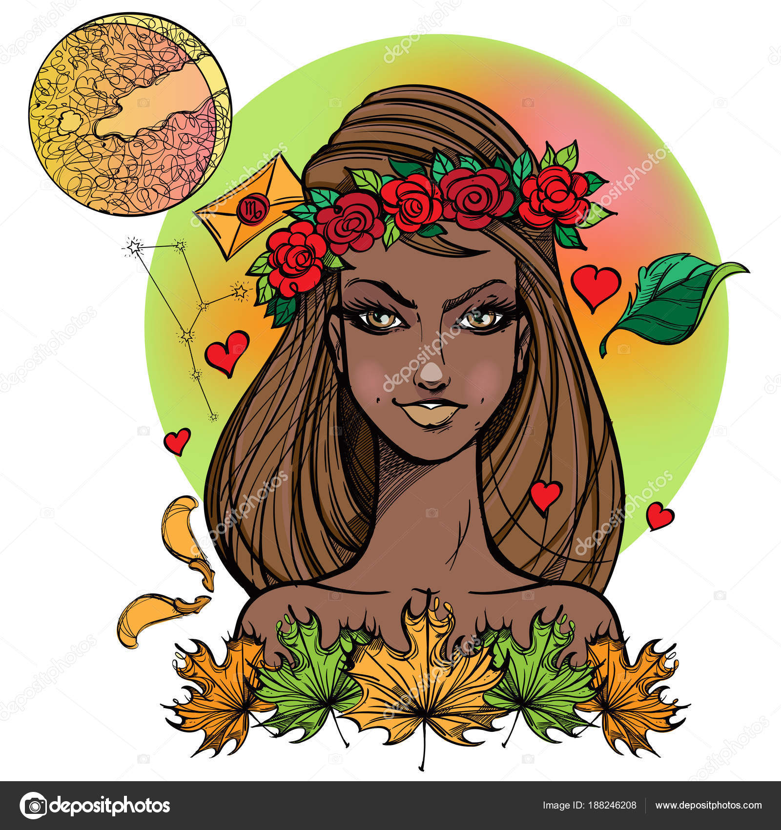 African American Girl Symbolizing Zodiac Sign Virgo ⬇ Vector Image by ©  filkusto | Vector Stock 188246208
