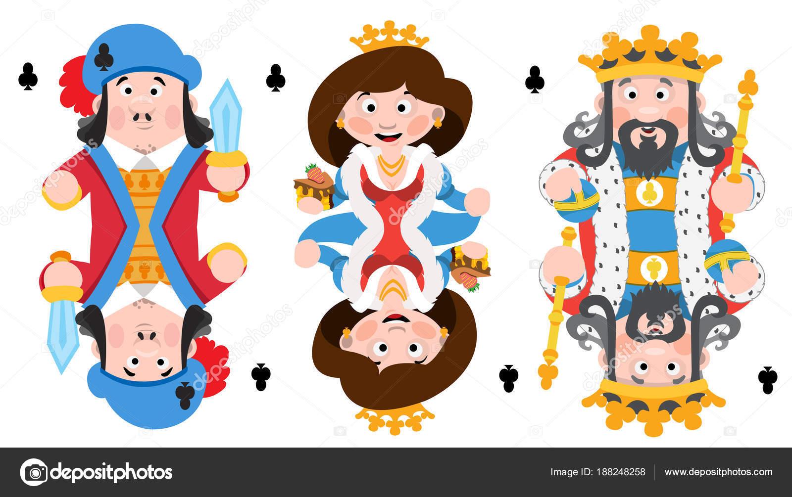 Rey Príncipe Reina Clubes Jugando Las Cartas Con Personajes Dibujos