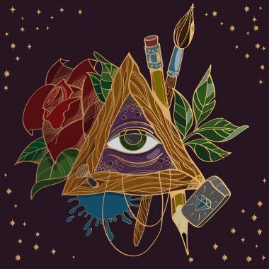 All seeing eye symbol on dark background