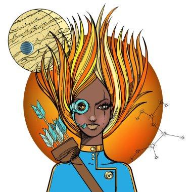 African American girl symbolizing zodiac sign Sagittarius.