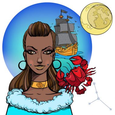 African American girl symbolizing zodiac sign Cancer