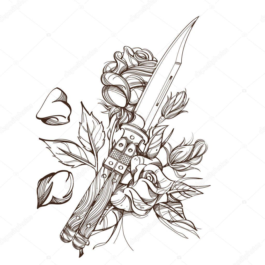 poignard contour dessin pour colorier tatouage