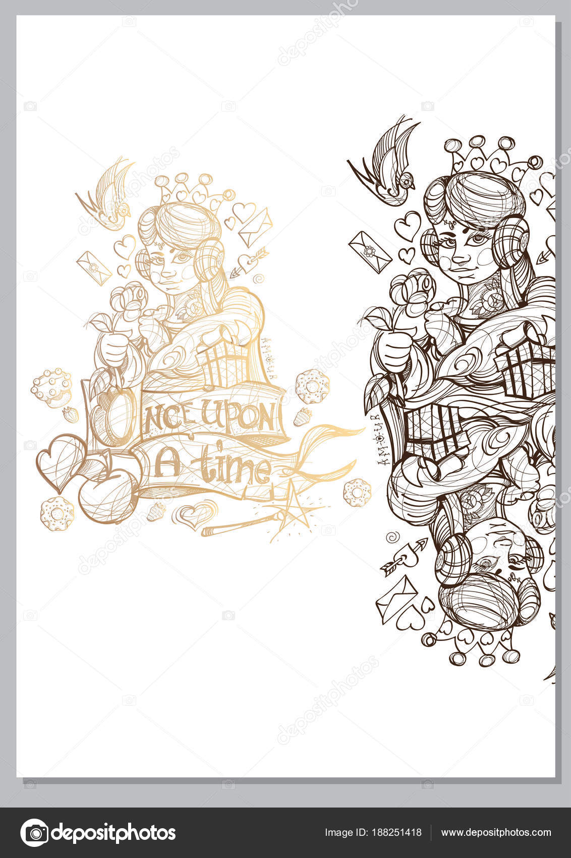 Queen Template Fairy Tale Character Isolated White Background