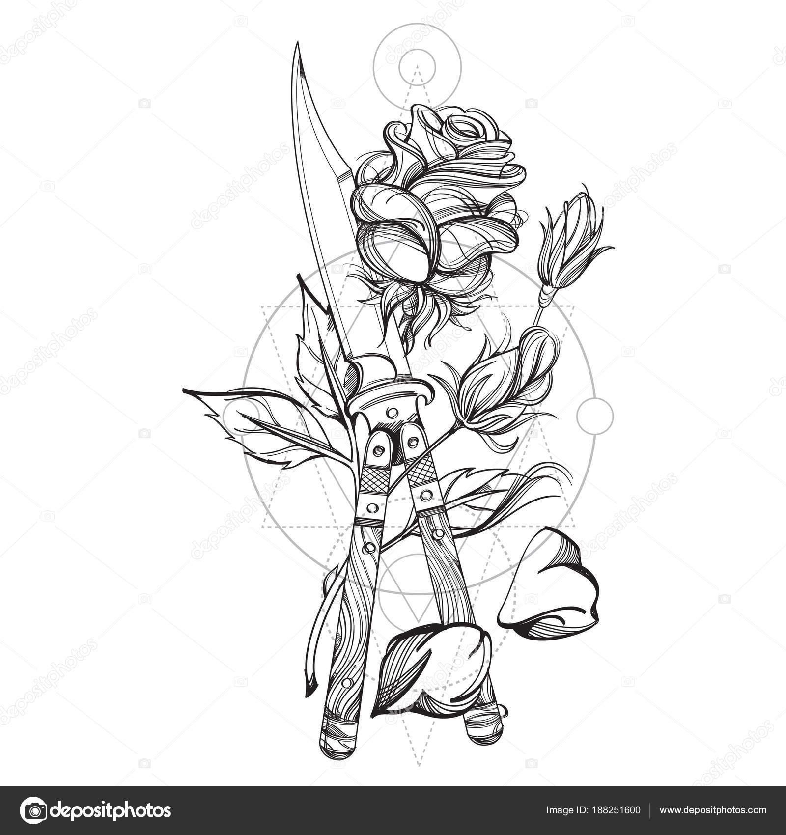 Dibujos Tatuajes De Flores Contorno Daga Rosas Dibujo Para
