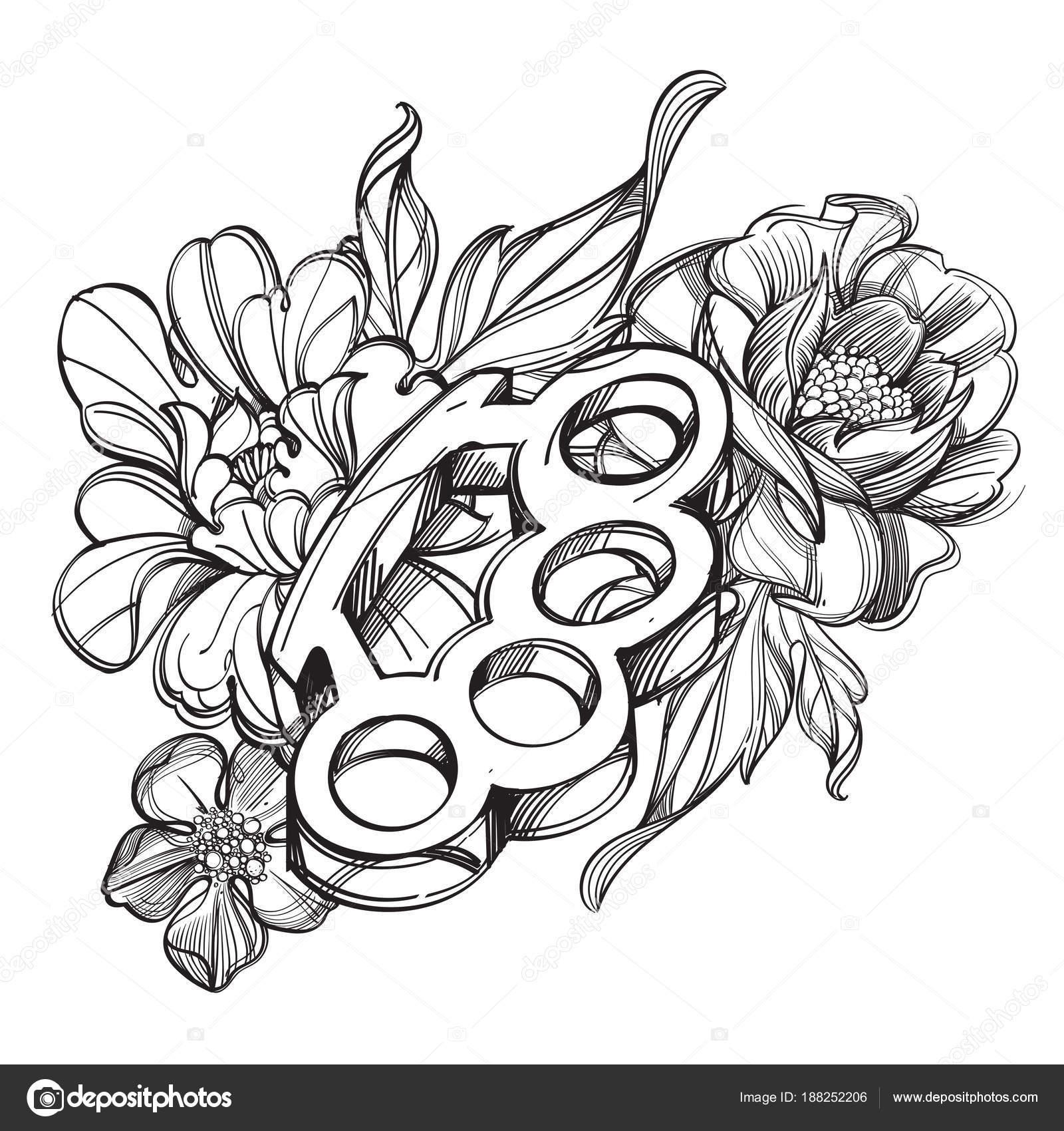 Dibujos Tatuajes Flores Nudillos Latón Contorno Banner