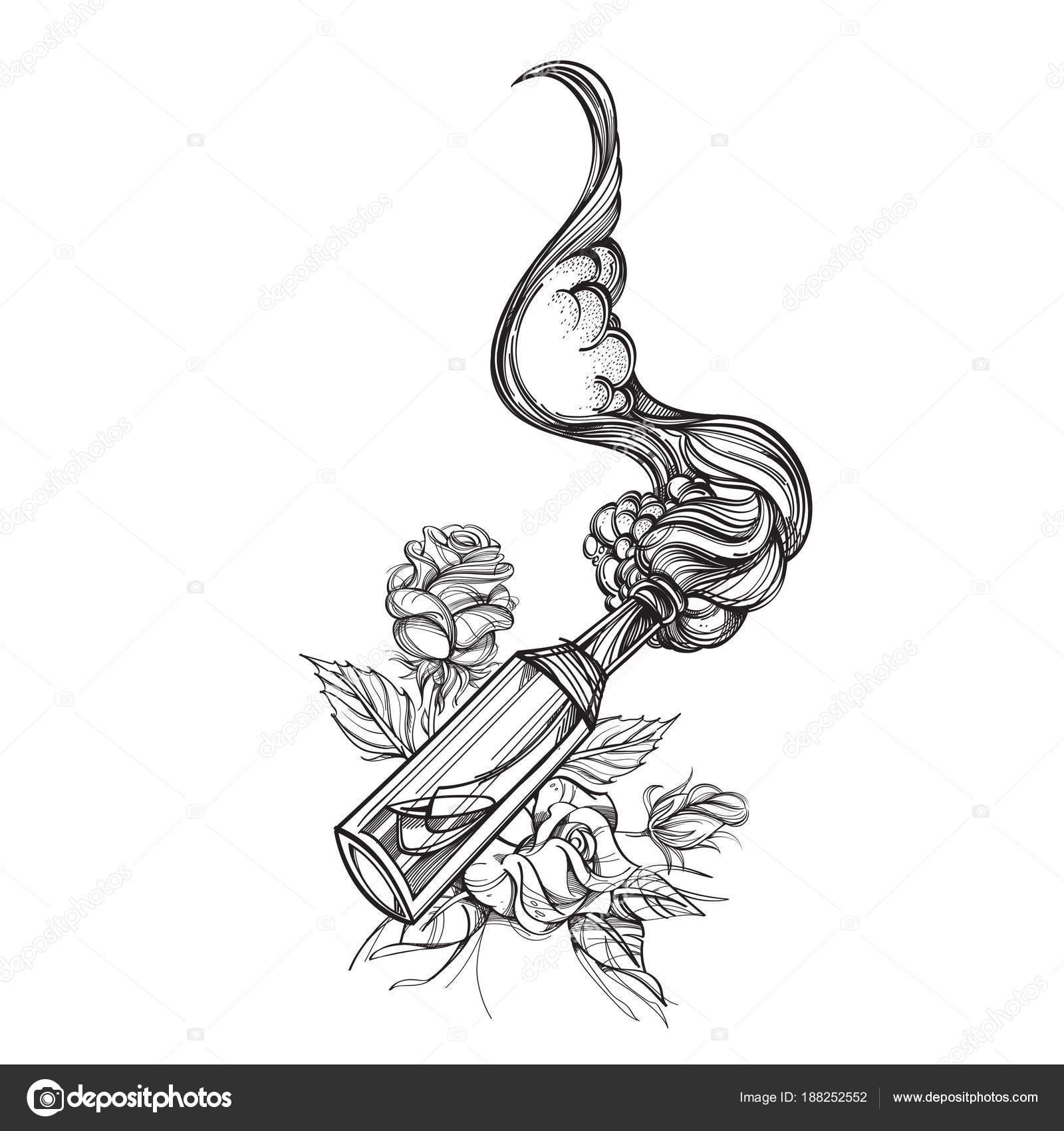 Molotof Kokteyli şişe Boyama Veya Dövme Için çizim çiçek Dağılımı