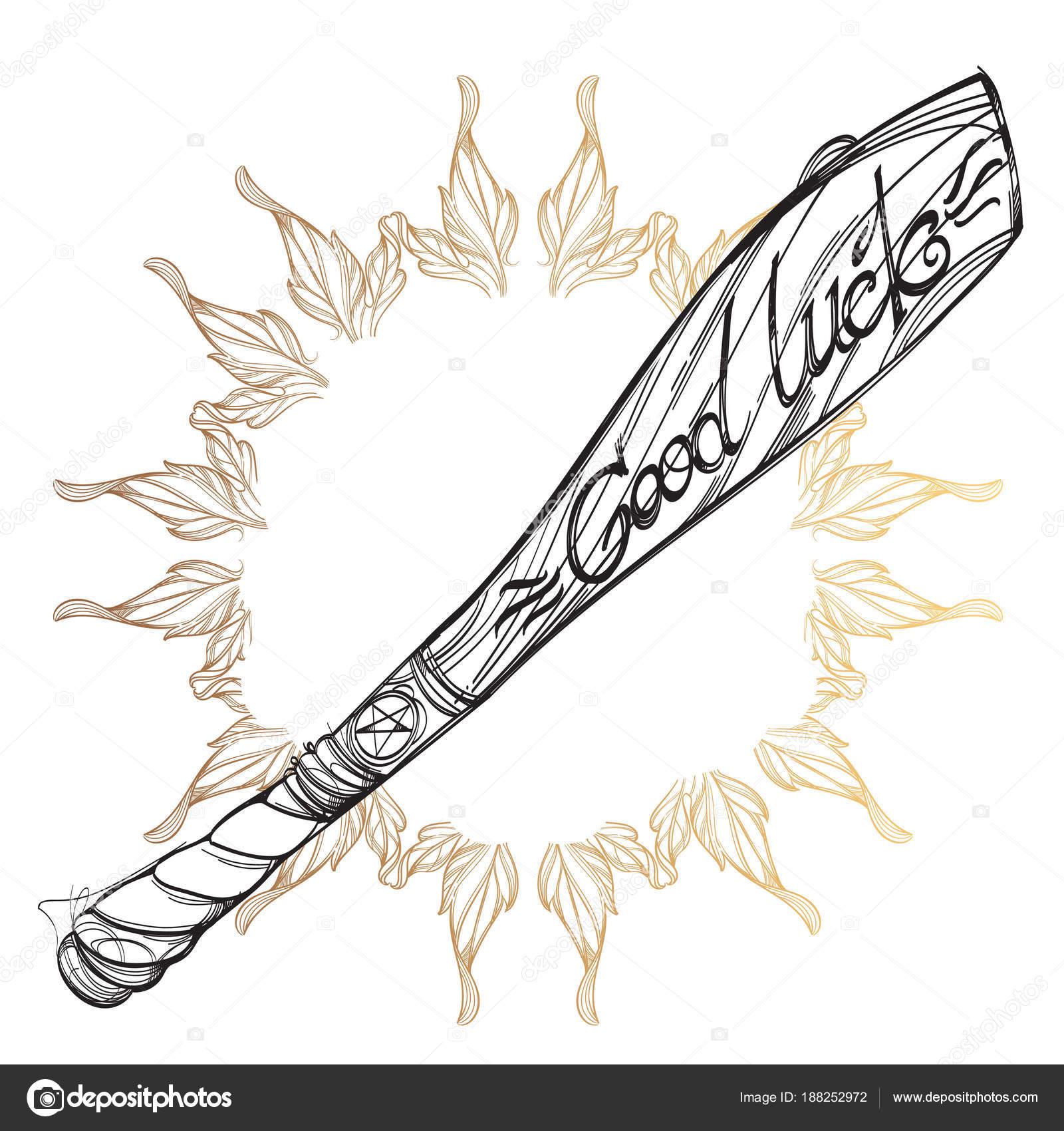 Contorno Bate Béisbol Dibujo Para Colorear Tatuaje — Vector de stock ...