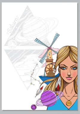 Girl symbolizing zodiac sign Aquarius.