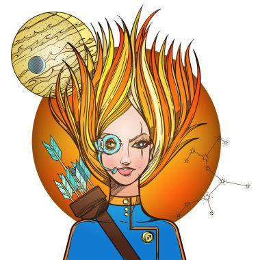 Girl symbolizing zodiac sign Sagittarius.